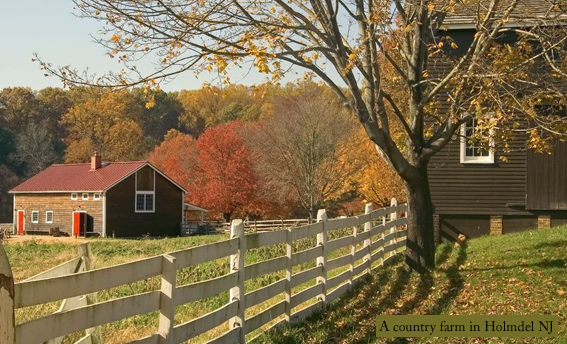 Fall colors drench a farmstead in Holmdel NJ